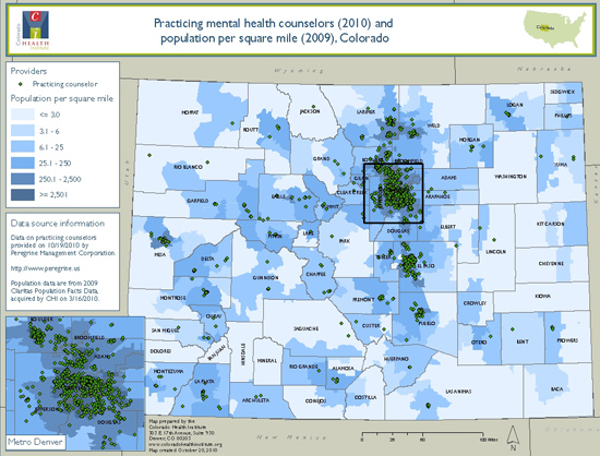 The distribution of practicing mental health counselors throughout Colorado shows that the majority of the professionals are in the Denver and Colorado Springs metropolitan areas -- leaving huge geographical areas of the state without providers. Source: The Colorado Health Institute