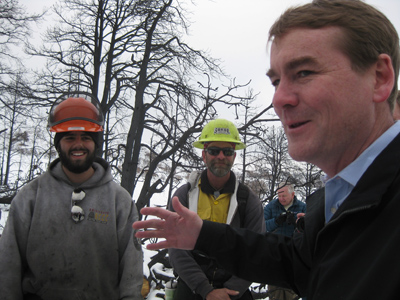 Colorado Senator Michael Bennet visits the Flying W Ranch to highlight the need for federal Emergency Watershed Protection funding.