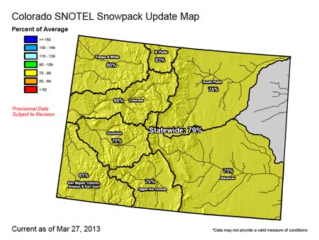 Colorado SNOTEL Snowpack Update Map from the Natural Resources Conservation Service.