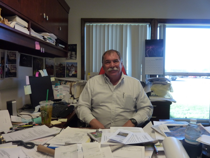 Steve Vandiver, General Manager of the Rio Grande Water Conservation District, in his office in Alamosa. He's charged with stopping the depletion of the aquifer in San Luis Valley, and is working to create subdistricts.