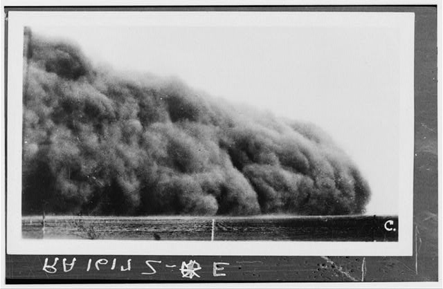 Prowers County, Colorado. Dust storm circa 1935