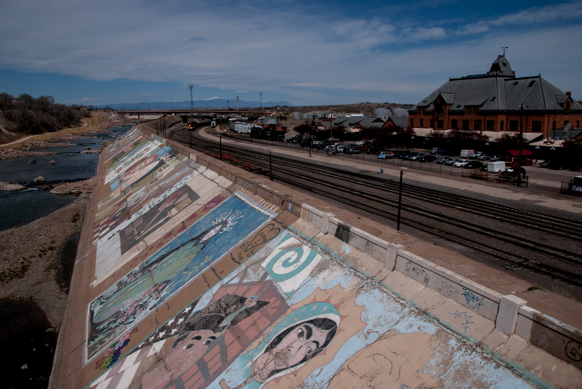 Freight traffic comes in along the Arkansas River in Pueblo, behind the Union Depot