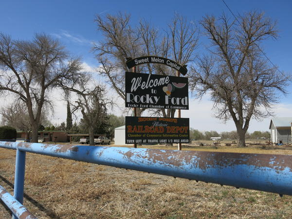 Entrance to the town of Rocky Ford, which is experiencing a longer dry period longer than it did during the Dust Bowl.