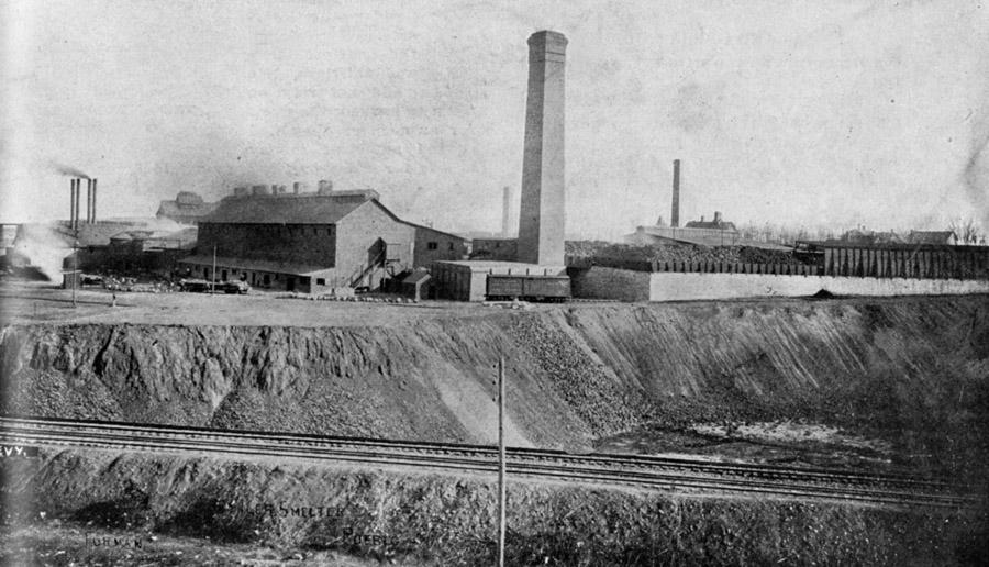 The Colorado, or Eiler's, Smelter.  The smokestack was torn down in 1923, and its bricks were used for the neighborhood school.