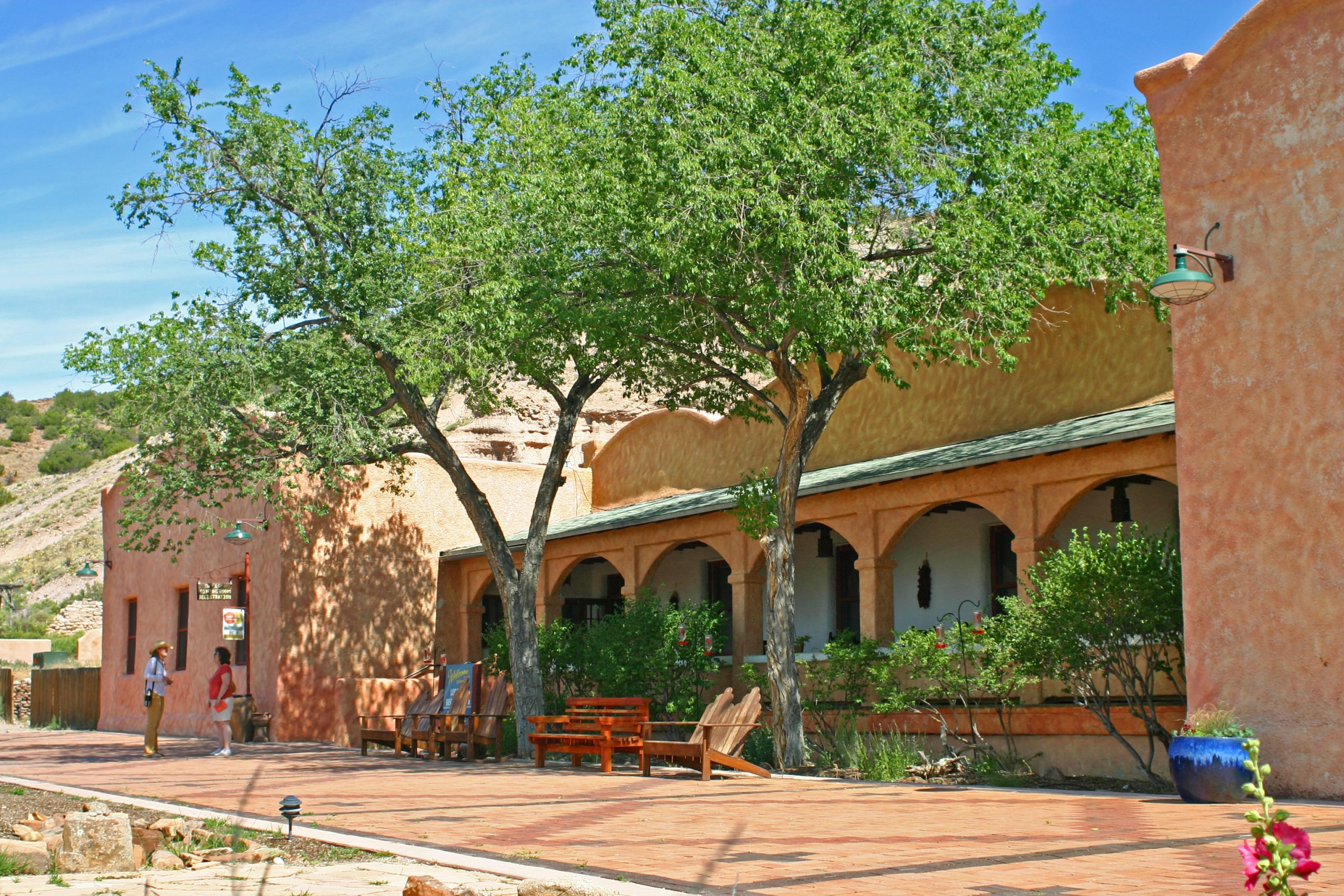 The hotel at Ojo Caliente reflects the architectural style of New Mexico