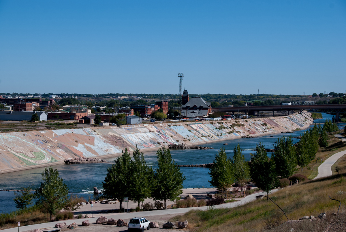 Looking downriver at the Arkansas River and Pueblo Levee Mural near the 4th Street Bridge.