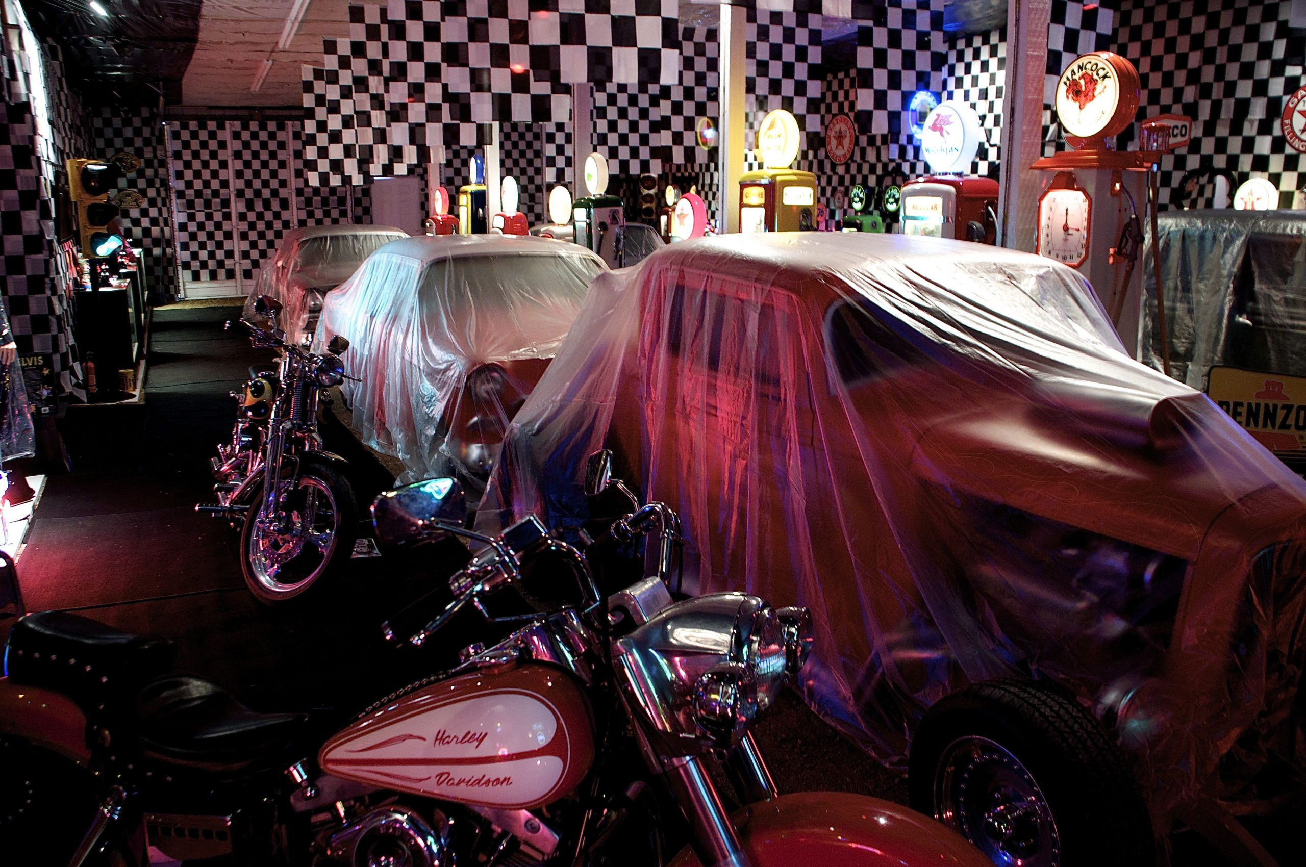 Hot rods and motorcycles in the Elvis room