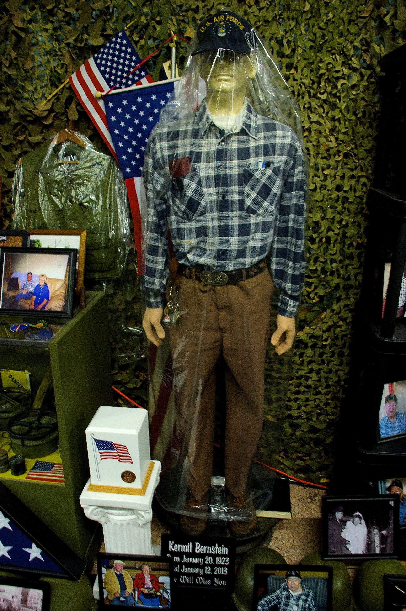 Shrine to Dragonman's father, Kermit Bernstein, inside the military museum