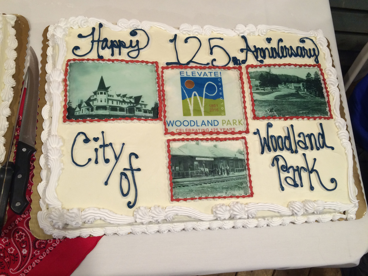 A cake celebrating Woodland Park's 125th birthday.