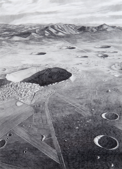 """""""Sedan Crater, Nevada Test Site, after 1972"""" 2012, graphite and radioactive charcoal, 30"""" x 22"""""""