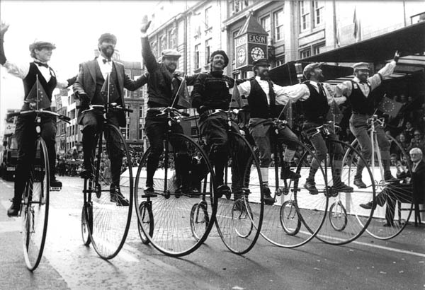 """""""The Flying Rust Brothers"""" in Dublin on their hi-wheelers (Mike Rust is second from right)"""