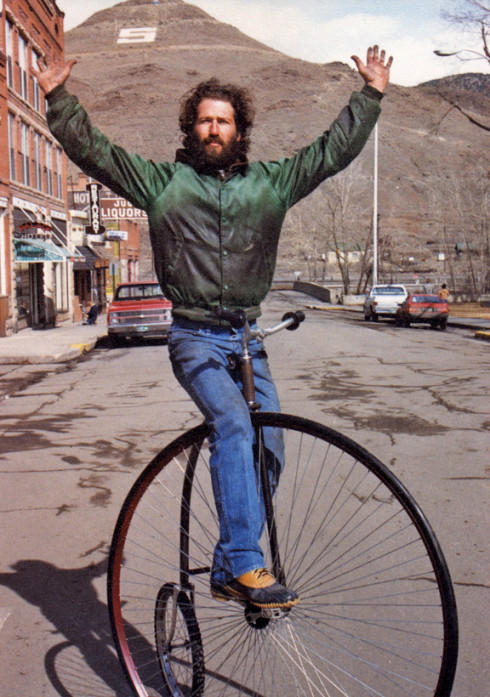 Mike Rust doing a track stand on one of his ordinaries in Salida