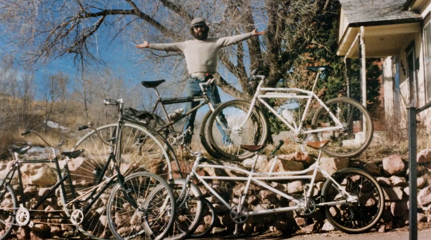 Mike Rust with some of the many bikes he built
