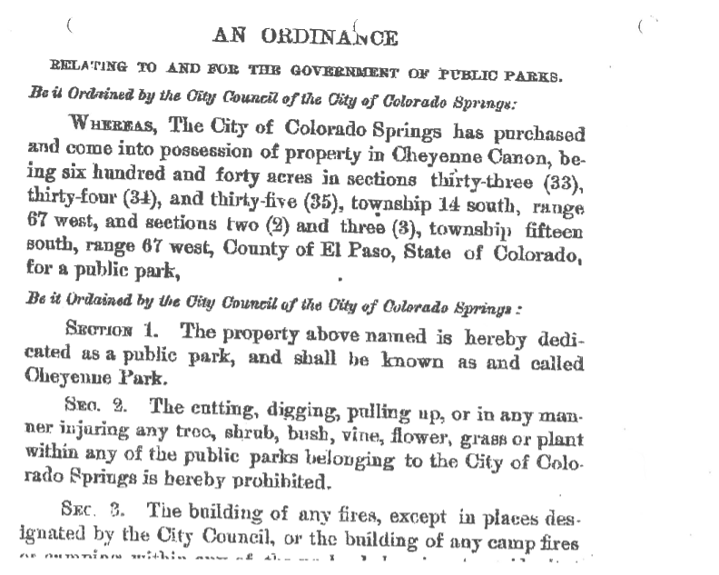 Page 1 of the 1885 Ordinance dedicating Cheyenne Canyon Park