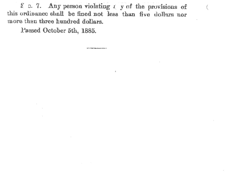 Page 3 of the 1885 Ordinance dedicating Cheyenne Canyon Park