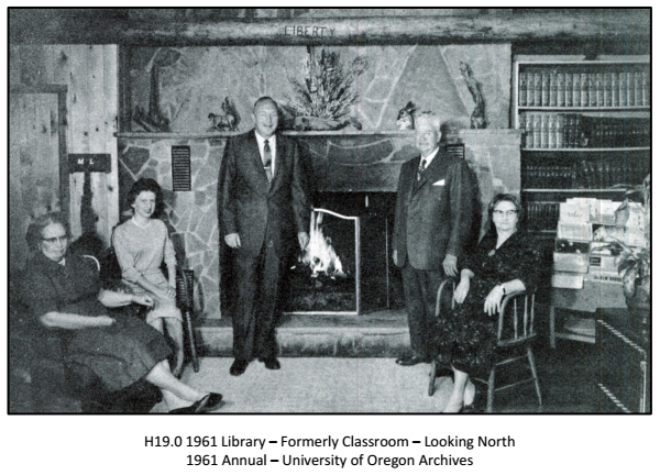 Robert LeFevre and Guests in Front of the Liberty Log in Liberty Lodge