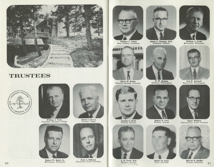 Charles Koch pictured on the Trustees Page from the 1966 Freedom School Bulletin