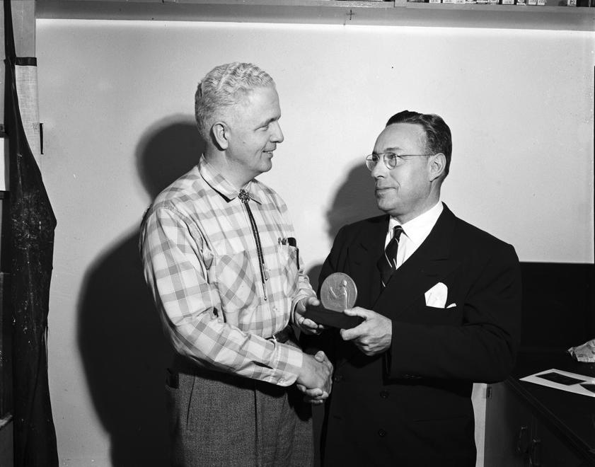 """Award to Freedom School"" (Robert LeFevre, left, and Roger Milliken) by Stan Payne, 1959"