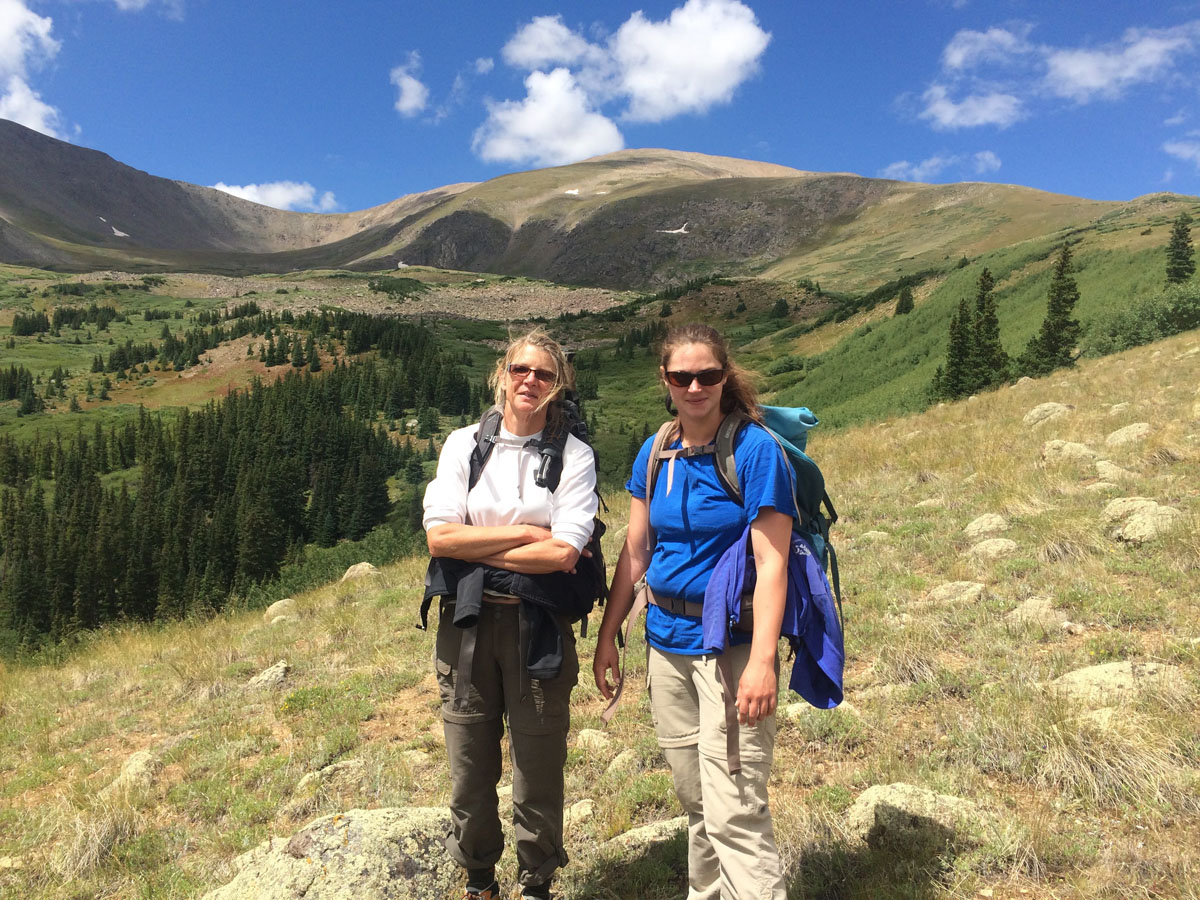 Loretta McEllhiney, USFS Peak Manager (left), and her seasonal employee on Mt. Elbert. McEllhiney says she can think the most clearly on a hike.