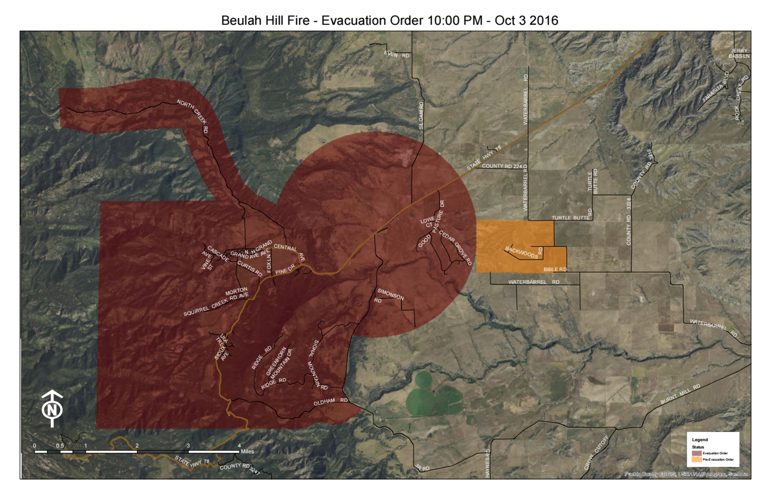 This map, dated 10/3/16 10:00 PM, shows evacuation notices current at that time. Red designates mantadory evacuation; orange, pre-evacuation. Current as of 10:00 PM, 10/3/16