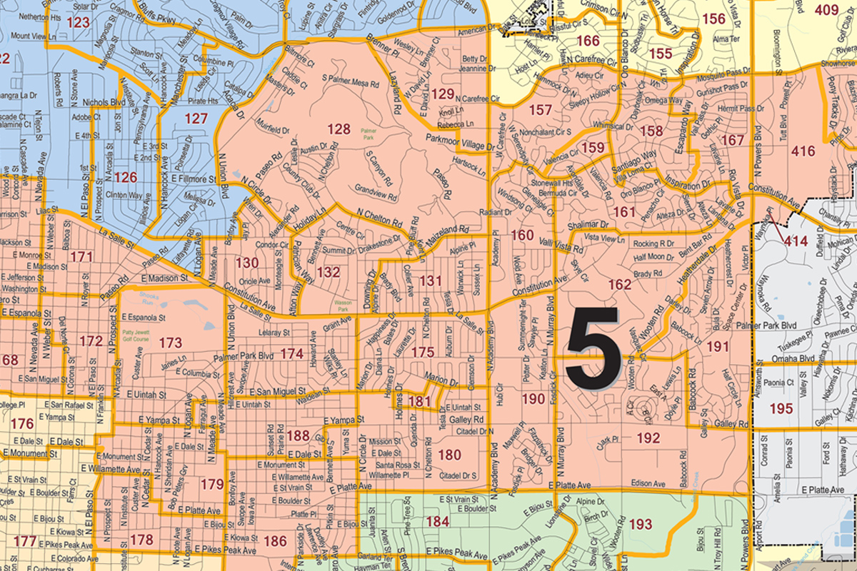 A portion of Colorado Springs City Council District 5, which is in the central and east-central part of the city