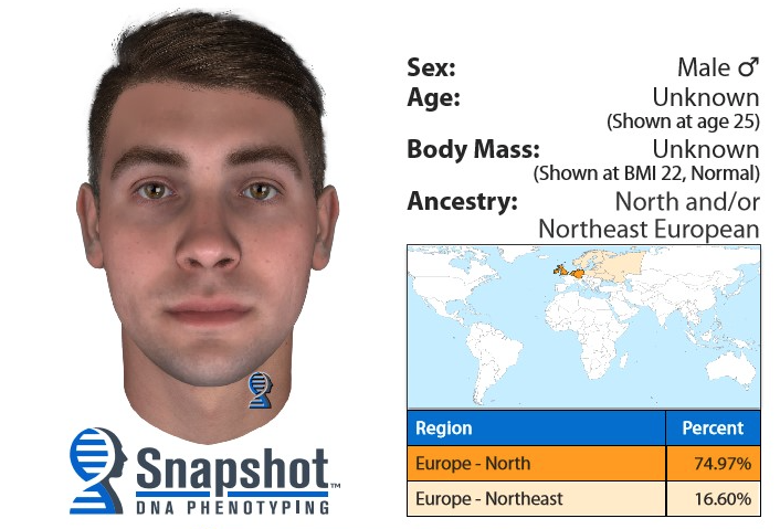 Suspect photo generated using DNA phenotyping. Investigators can create a picture of a suspect with the technology.