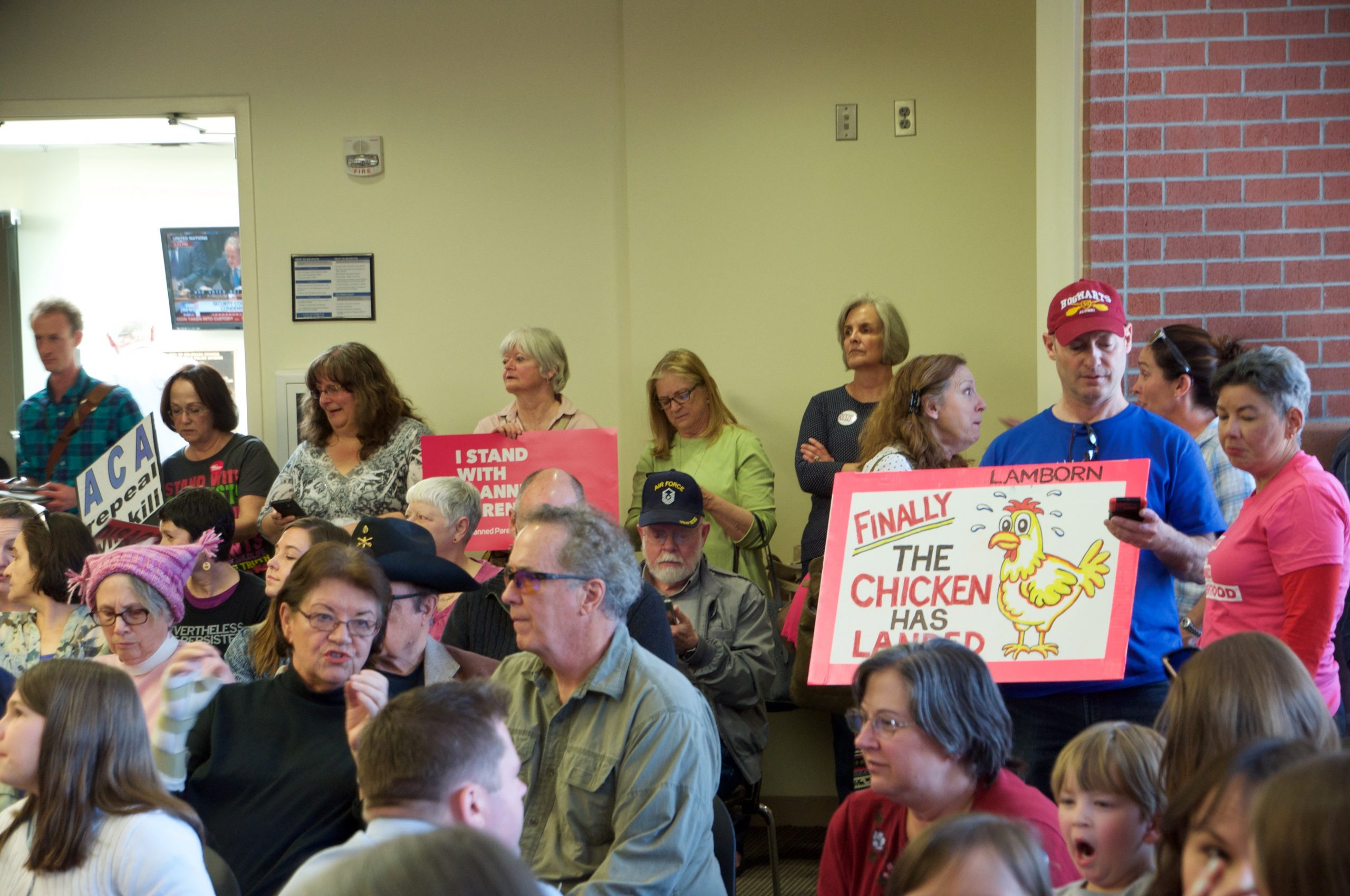 A standing-room-only crowd waits for Rep. Lamborn to arrive at a town hall meeting in Colorado Springs.