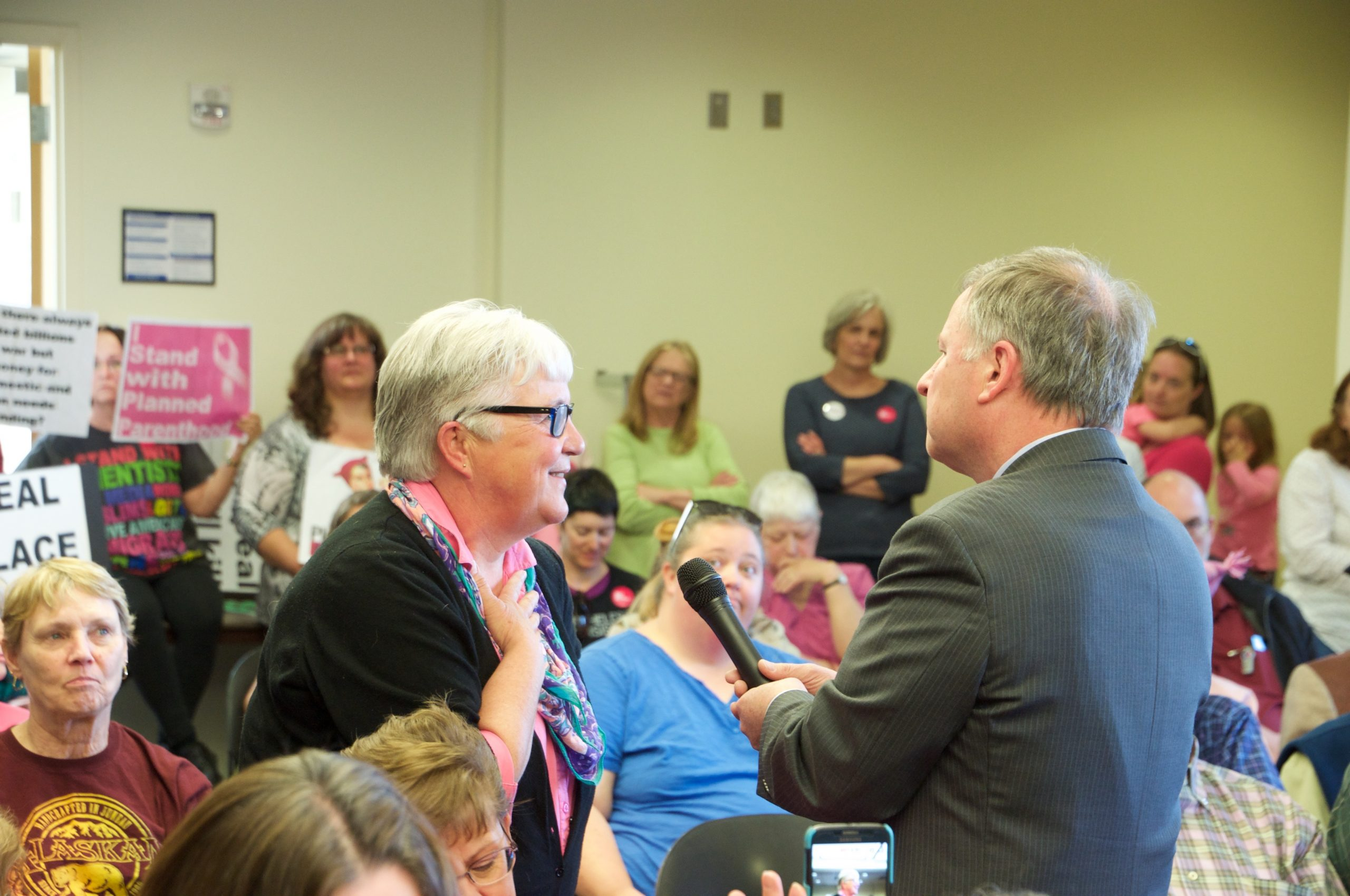 Congressman Doug Lamborn takes a question from a constituent at a town hall meeting in Colorado Springs.