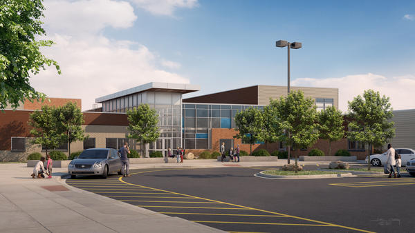 A rendering of the school drop-off zone after construction is complete at Hudson Elementary, it is estimated to be complete July, 2018.