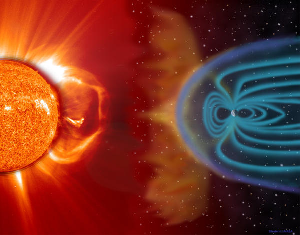 This illustration shows how space weather can travel from the sun to Earth, which is largely protected by its magnetic fields.