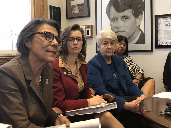 Senate Minority Leader Lucia Guzman is joined by other Democrats calling for Senate President Kevin Grantham to allow a vote on Sen. Randy Baumgardner's expulsion.