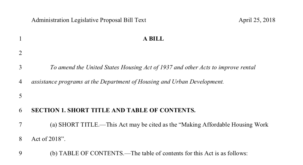 "Proposed ""Making Affordable Housing Work Act of 2018"""