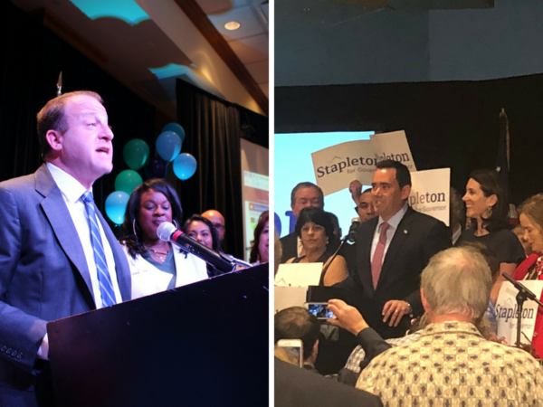 Jared Polis and Walker Stapleton, pictured addressing the crowds at their respective watch parties after winning their parties' nomination for governor.