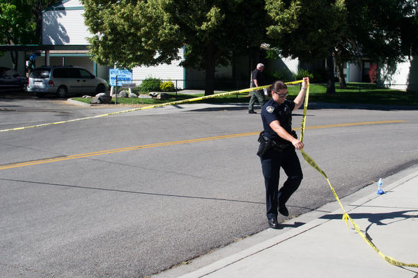 Boise Police cordoned off Wylie Street Station Apartments after nine victims were stabbed Saturday night.