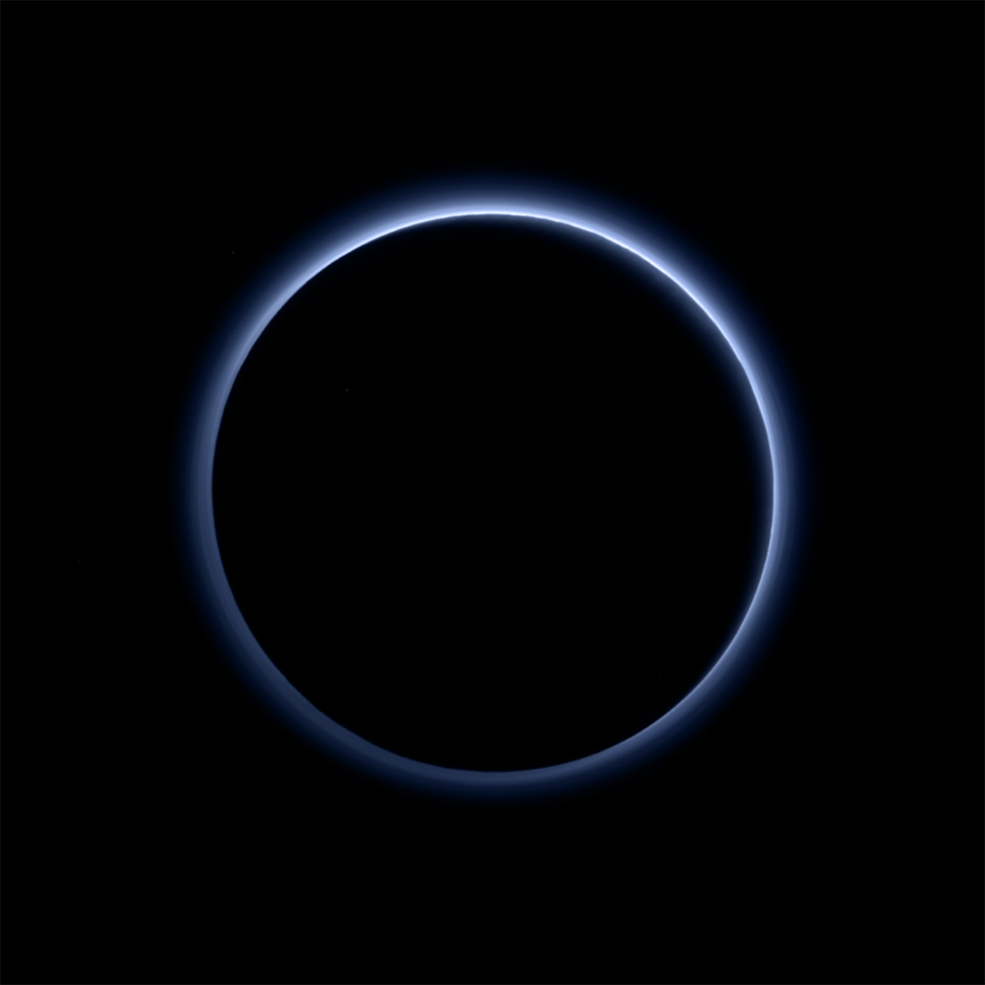 Blue skies / hazy layers of Pluto's atmosphere