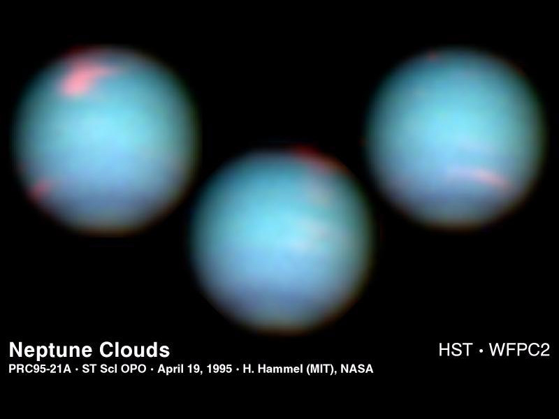 These NASA Hubble Space Telescope views of the blue-green planet Neptune provide three snapshots of changing weather conditions.
