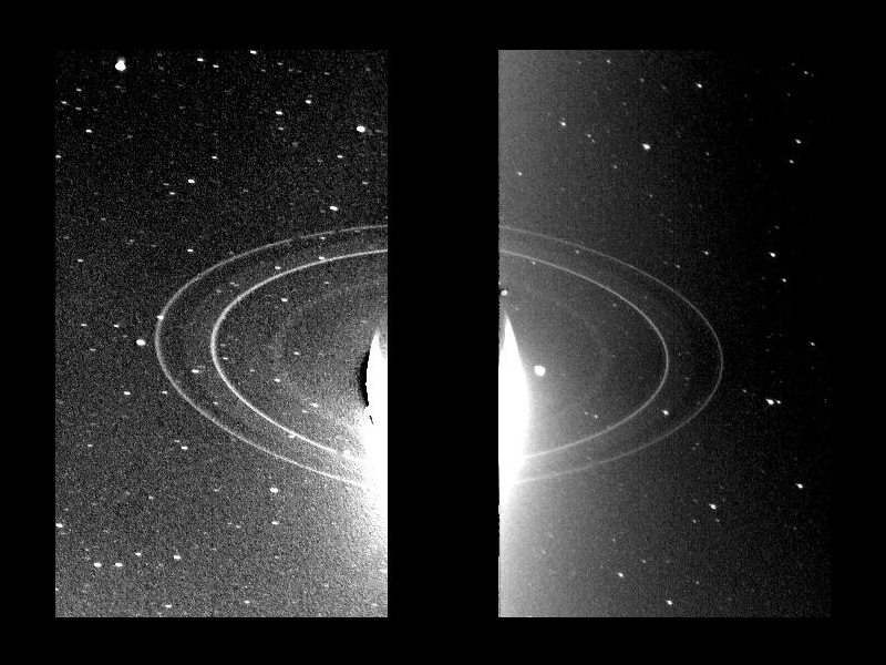 These two 591-second exposures of the rings of Neptune were taken with the clear filter by the Voyager 2 wide-angle camera on Aug. 26, 1989 from a distance of 280,000 kilometers (175,000 miles).