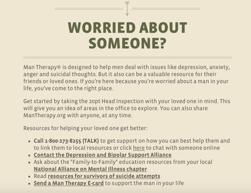 A screenshot from the Man Therapy website providing resources.