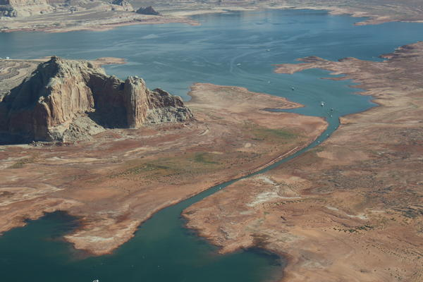 A narrow passageway allows boats to pass on the northern edge of Antelope Island in Lake Powell, one of the Colorado River's main reservoirs.