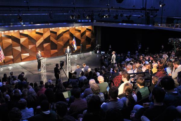 Gubernatorial candidates Walker Stapleton and Jared Polis square off for a debate Oct. 17 in Fort Collins.