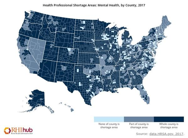 Shortages of mental health professionals in non-metro counties in 2017. Dark blue indicates the entire county is experiencing a shortage.
