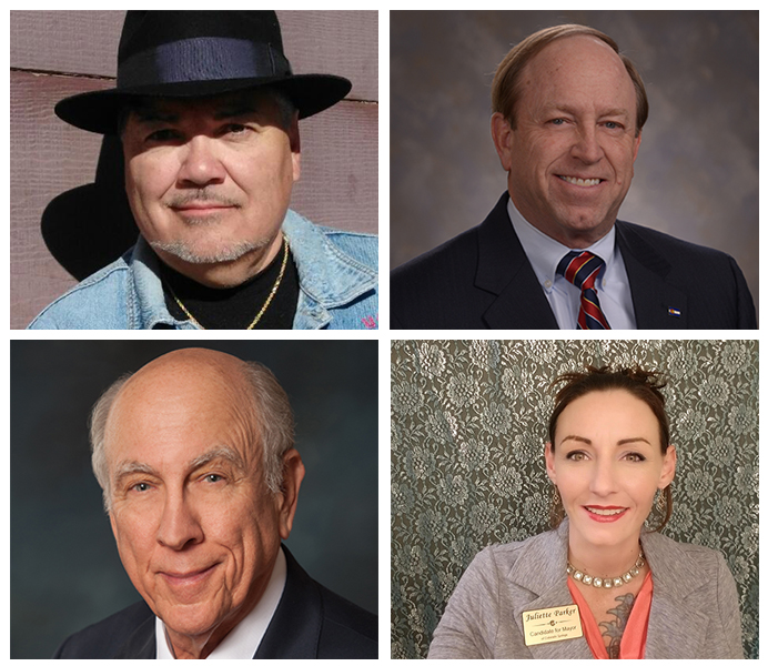 There are four candidates for mayor of Colorado Springs in the upcoming April 2nd municipal election. Clockwise From Top Left: Lawrence Joseph Martinez, John Suthers, Juliette Parker, John Pitchford.