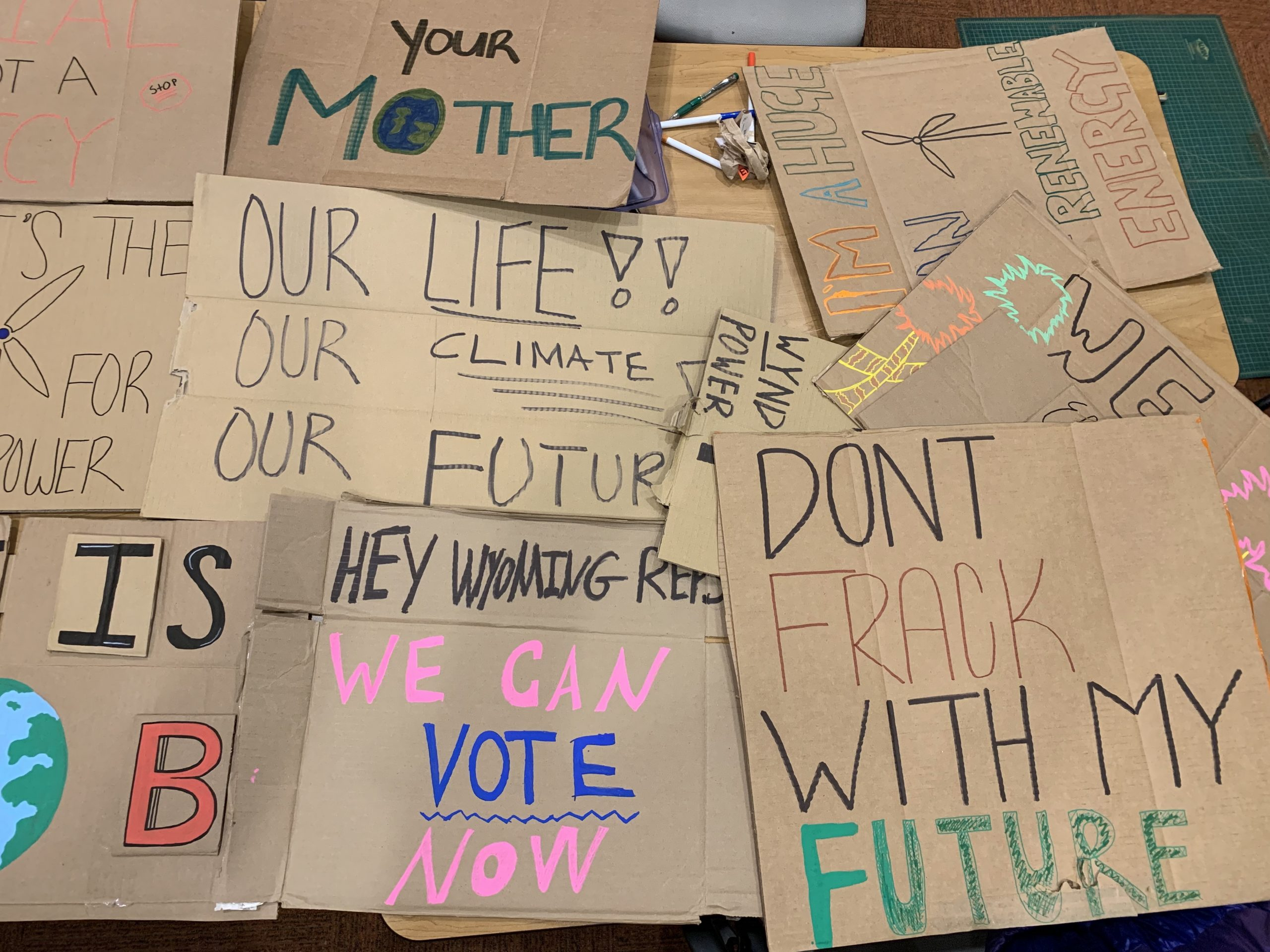 Signs for the strike made by Sienna Taylor and her classmates of Jackson Hole, Wyoming