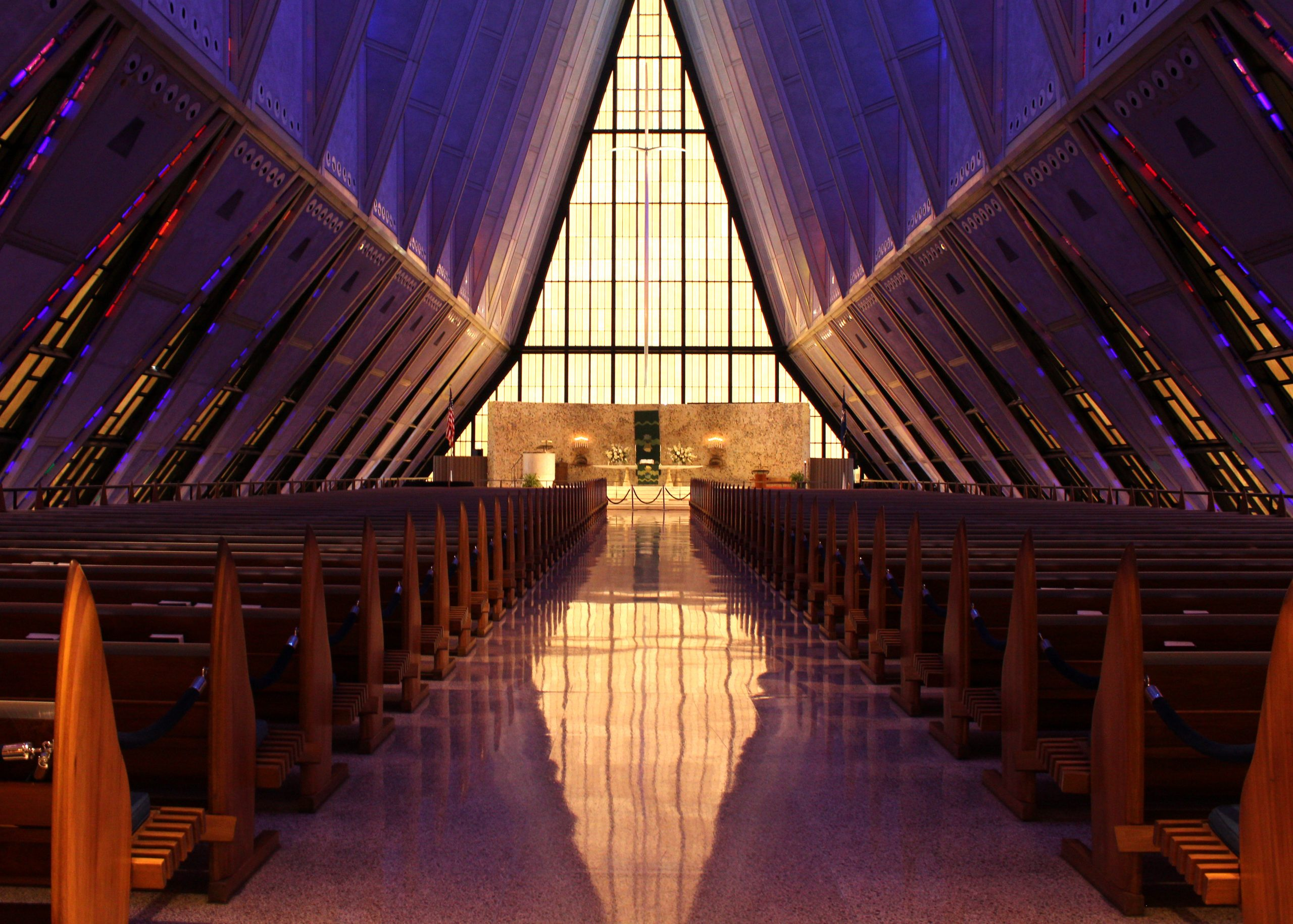 The center aisle of the Cadet Chapel at the United States Air Force Academy.