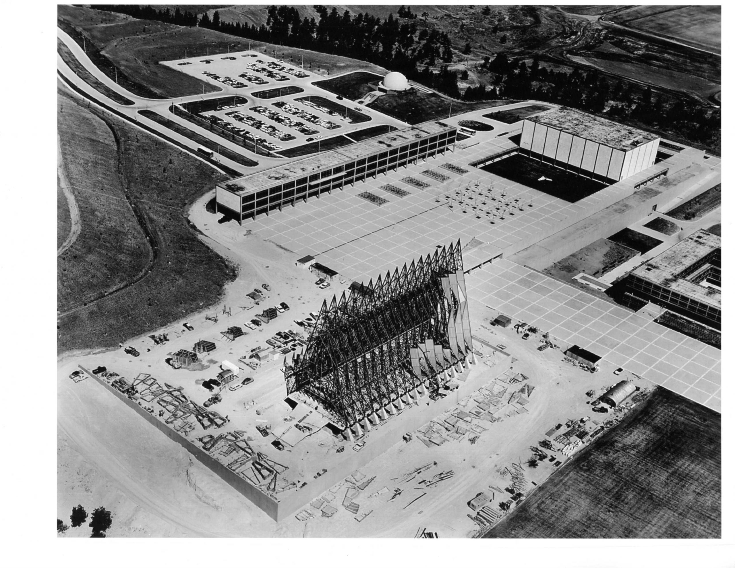 An aerial view of the chapel during construction.