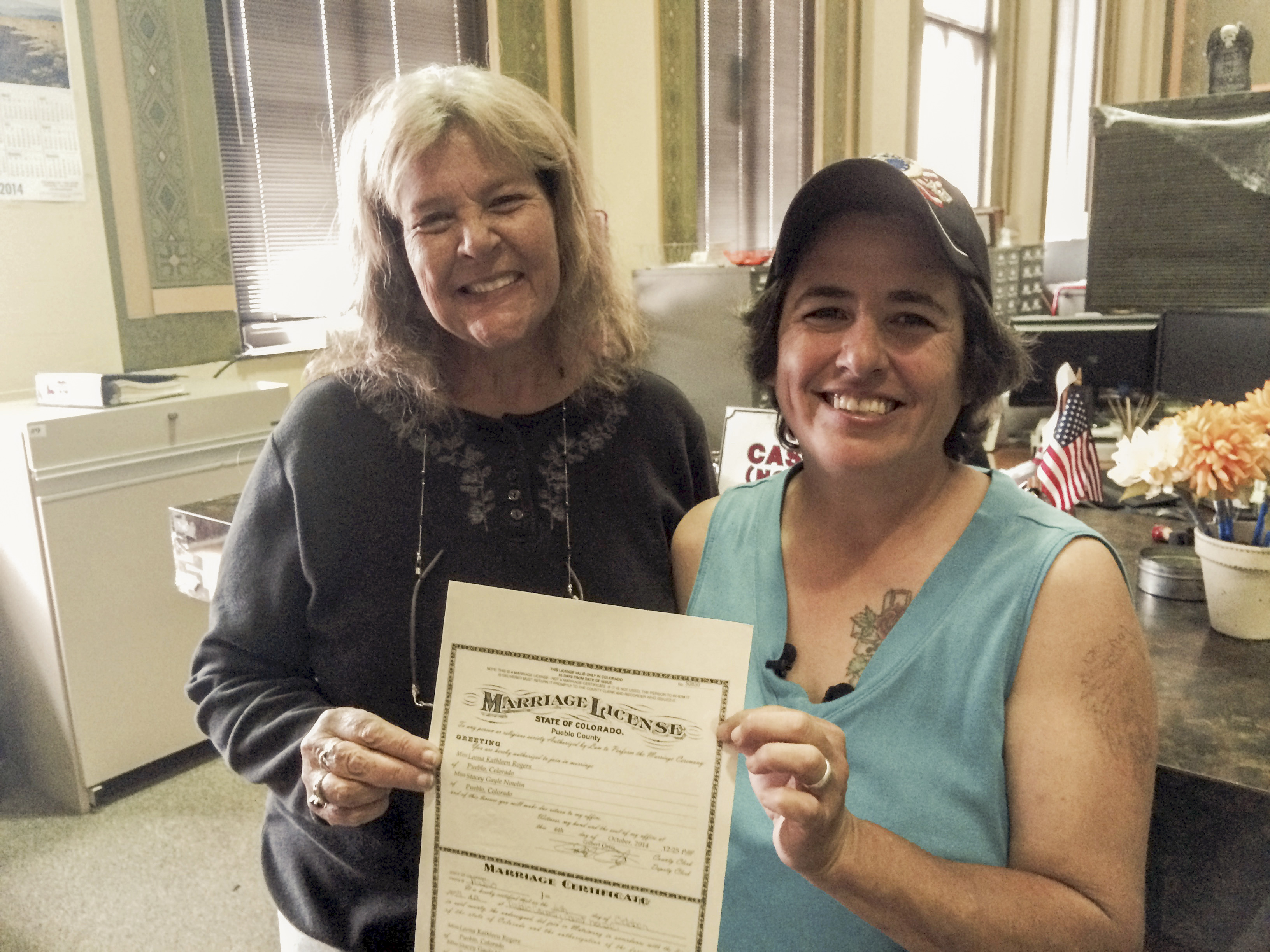 Photo: Lesbian couple in Pueblo issued marriage license