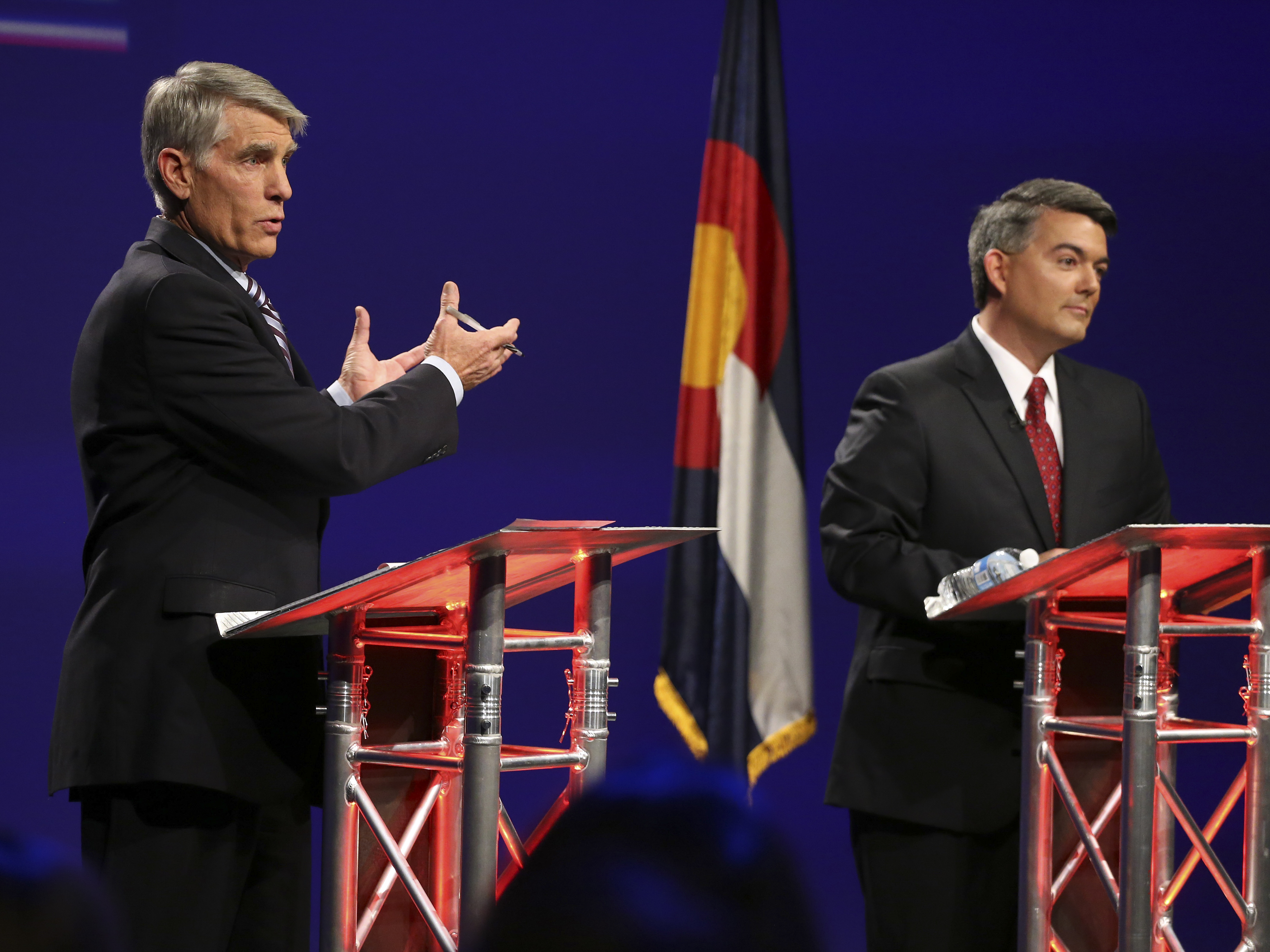 Photo: Udall, Gardner debate (AP Photo)