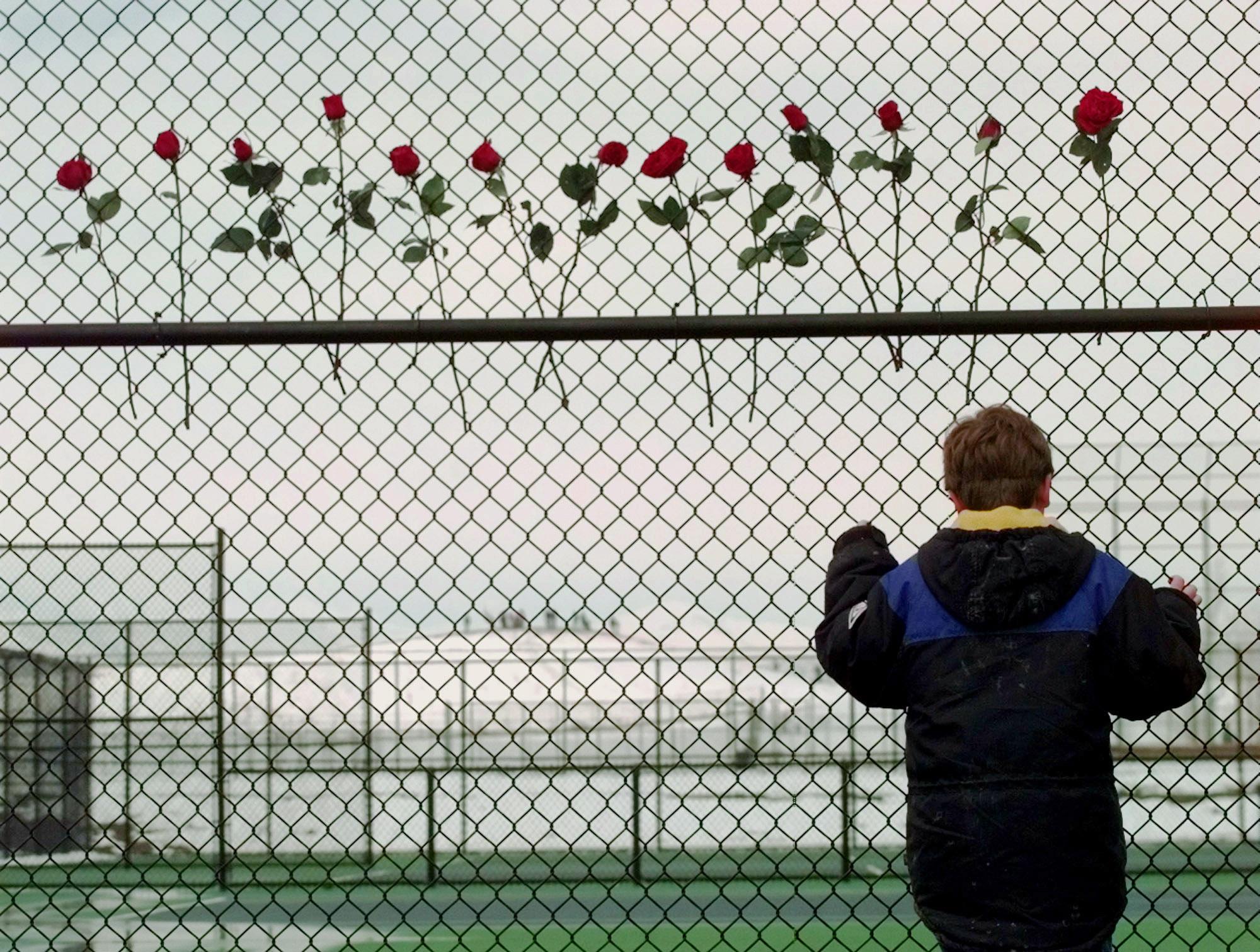 Photo: Columbine High School roses (AP Photo)