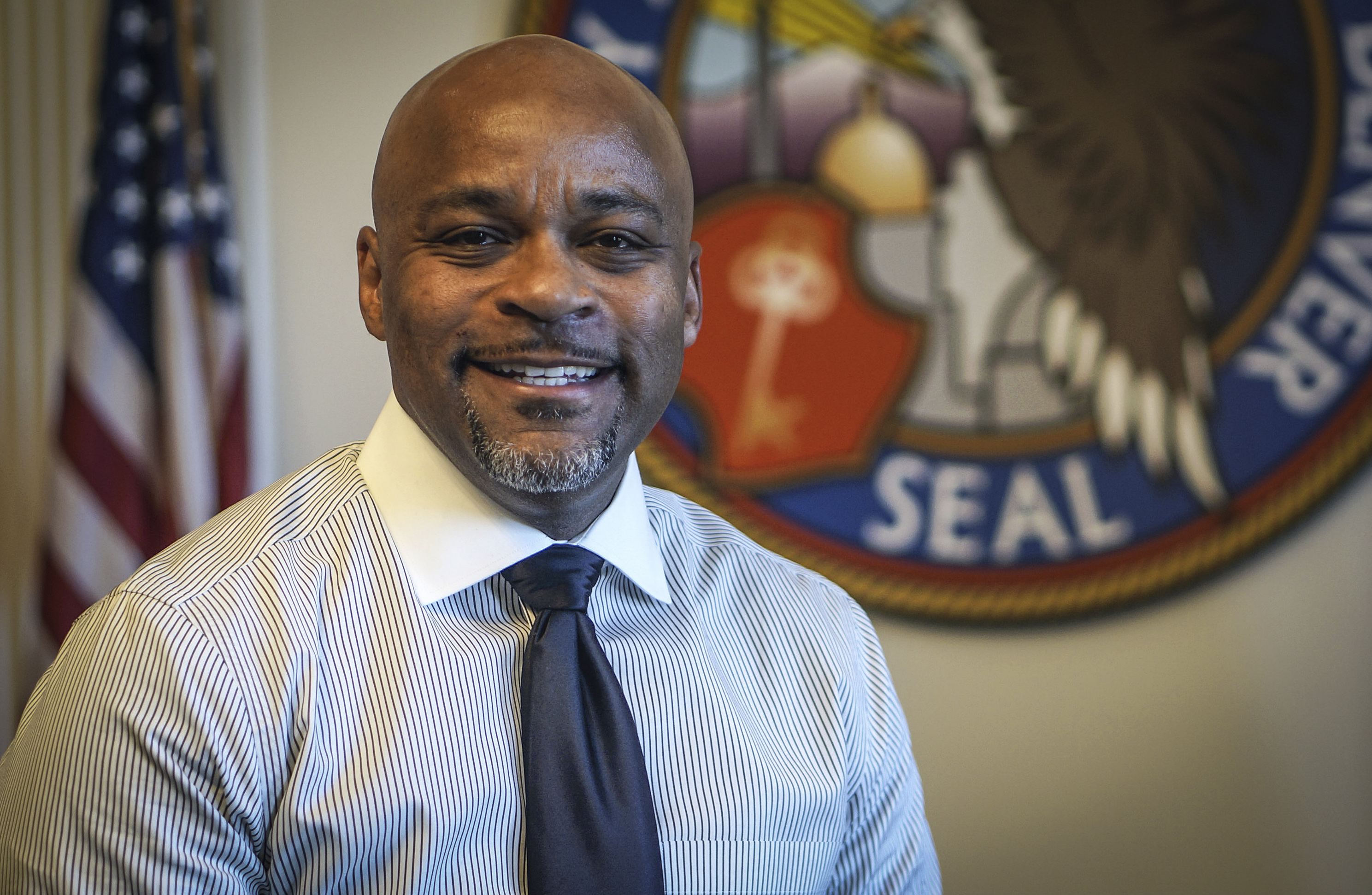 <p>Denver Mayor Michael Hancock at his office on Nov. 8, 2017.</p>