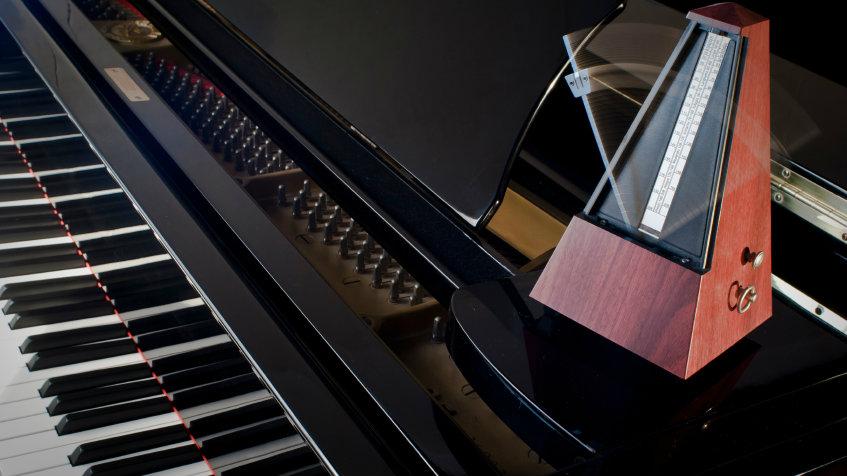 Photo: Piano with metronome